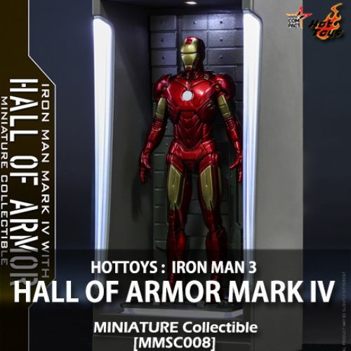 [품절][HOTTOYS] 아이언맨3 : 아이언맨 마크4 홀 오브 아머 미니어쳐 Iron Man Mark IV with Hall of Armor Miniature Collectible [MMSC008]